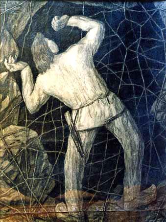 K. Raud - Kalevipoeg Põrgu teel võrke purustamas