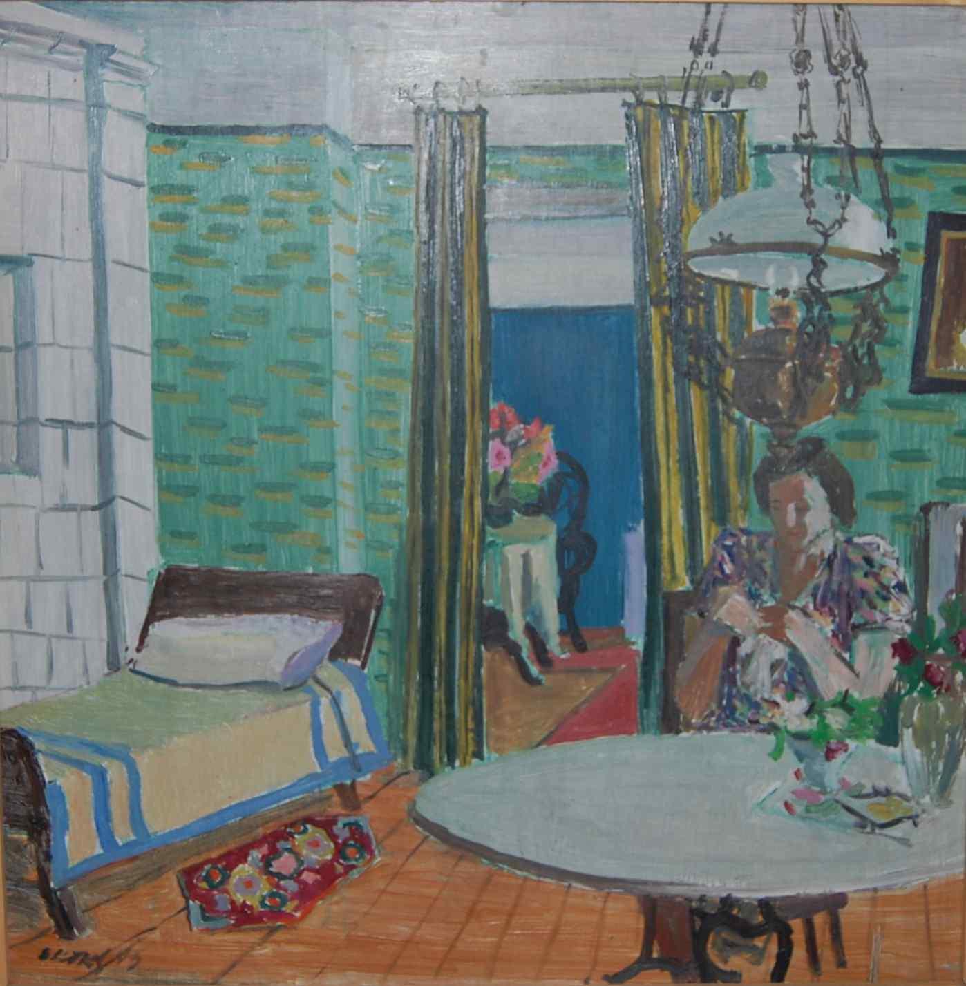 Endel Kõks. Toas. 1943. Õli, vineer. 48 x 48. Tartu Kunstimuuseum