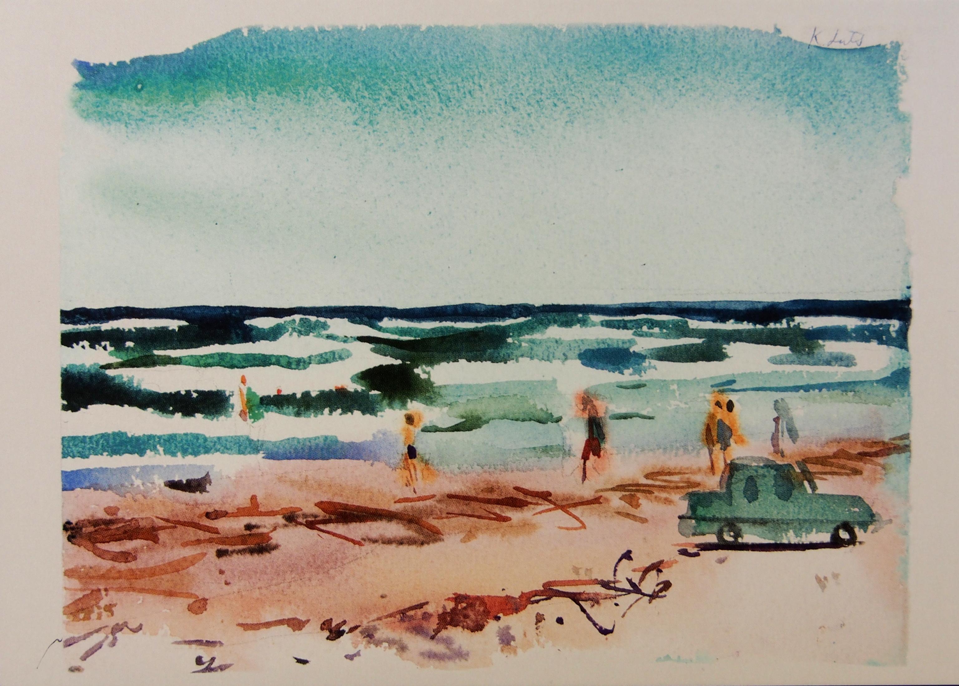 """Postkaart """"Karin Luts  Autoga rannas"""" - Tartmus"""