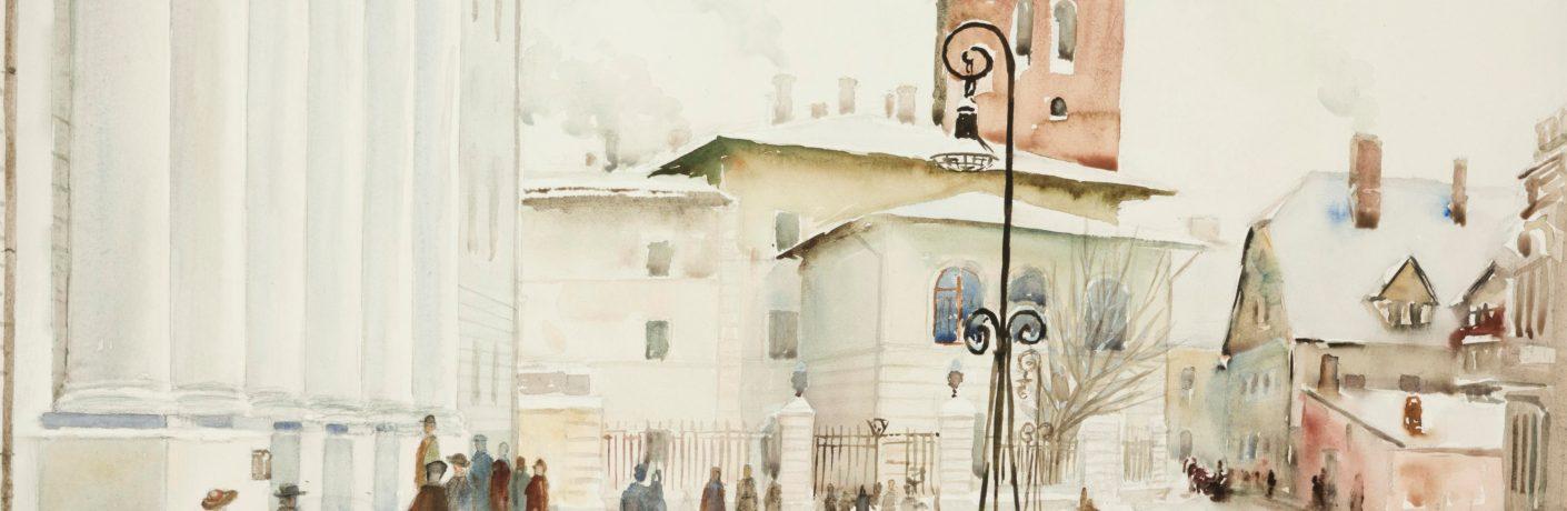 Nigul Espe. Tartu Riikliku Ülikooli fassaad. 1947. Akvarell, paber. 43,2x58,8